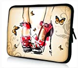 iColor Universal High Heel & Butterflies 11.6'' 12'' 12.1'' Laptop Tablet PC Sleeve Case Bag Pouch Cover Protector For 11.6 - 12.1 inch Apple Macbook Air Samsung Google Android Acer HP DELL Lenovo Asus Touchscreen Tablet Notebook Computer