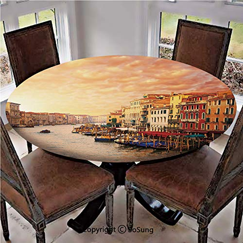 Elastic Edged Polyester Fitted Table Cover,Venezia Italian Decor Landscape with Old Houses Gondollas and Spikes Image,Fits up to 36