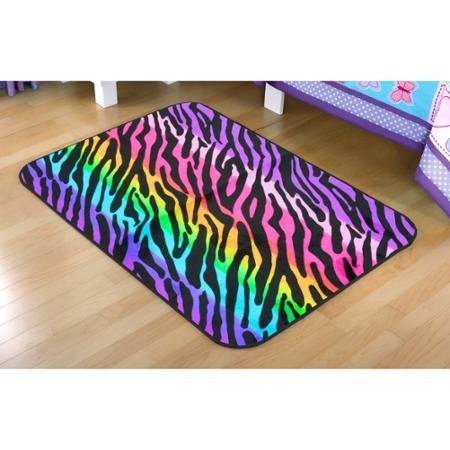 Your Zone Rainbow Zebra Faux Mink Rectangular Rug, Multi-Color, 2'6