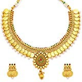 Youbella Traditional Jewellery Multi Colour Coin Necklace Set With Earrings For Women