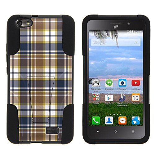 MINITUTLE Compatible with Huawei Raven LTE Silicone Gel and PC Combination Strike Impact Stand Case w/Dazzling Designs Blue Brown Checker Plaid ()