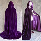 Purple Cloak with Hood for Adult Men Women Velvet