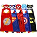 Zaleny Superhero Dress Up Costumes 5 Satin Capes with Felt Masks