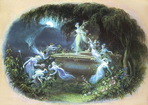 Vintage Reproduction Print Fairy Garden 11x17 The Visit At Moonlight 1832
