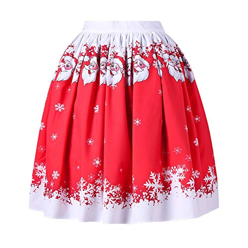 Clearance Forthery Christmas Santa Vintage A-line Pleated Flared Mini Skater Skirts (US Size S = Tag M, Red)