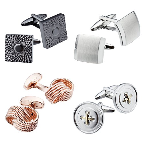 HAWSON Personalize Men's 4pairs Cufflinks Set for Men Shirt Business Wedding Jewelry ()