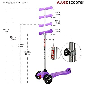 Scooter, Allek 3 Wheel Kick Scooter with Adjustable Height PU Flashing Wheels for Kids Best Gifts for Children from 3 to 8 Year-Old