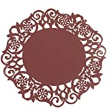 ZTY66 1pc Silicone Multi-Use Floral Carved Trivet Mat - Insulated Flexible Durable Non Slip Coaster (B)