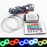 EverBright 1-Set 70MM Multi-Color RGB LED Halo Rings Light 39SMD 5050 Super Bright Angel Eyes Circle Ring Headlight Lamp Daytime Running Lights(DRL) With Remote Control-12V,10W (70MM)