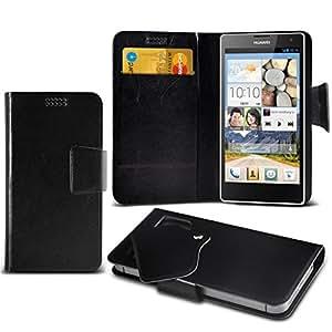 (Black) Huawei Ascend G740 Caso fino estupendo Faux Leather succión Pad Monedero piel de la cubierta con el crédito / débito ranuras para tarjetasBy Fone-Case