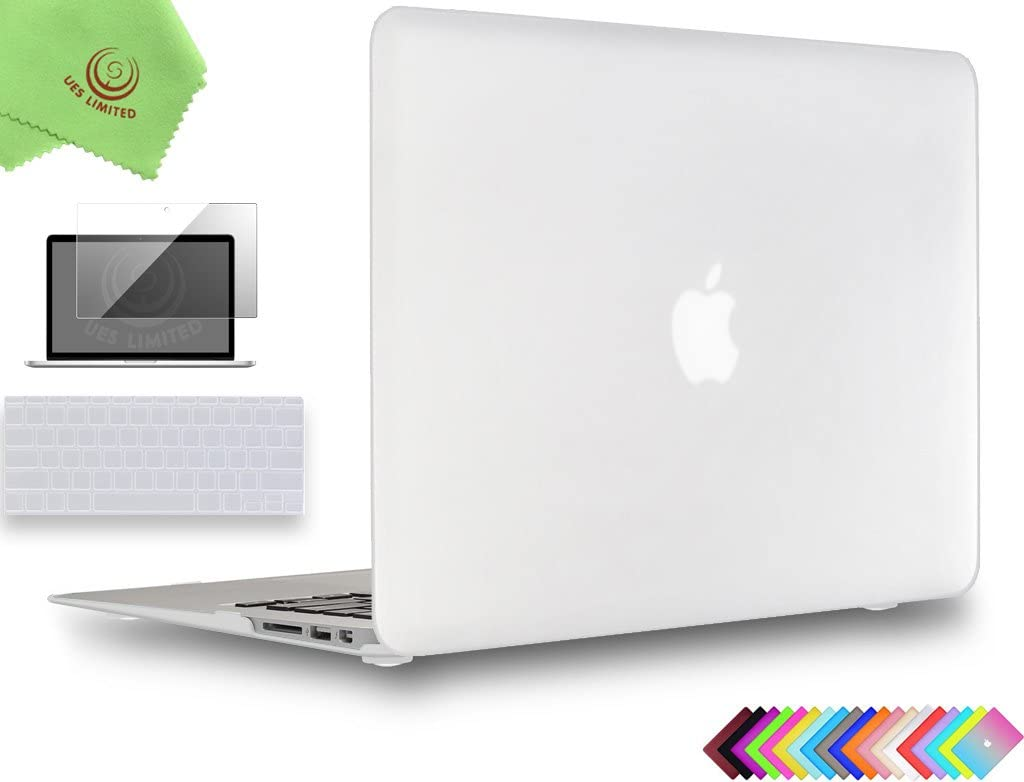 UESWILL 3in1 Smooth Matte Hard Shell Case Cover for MacBook Air 11 inch (Model: A1370/A1465) + Keyboard Cover and Screen Protector + Microfibre Cleaning Cloth, Clear
