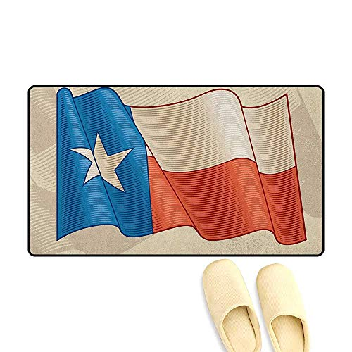 zojihouse Texas Star Bath Mat for tub Bathroom Flapping Texan Flag Lone Star Pattern with Retro Effect Americana Size:24