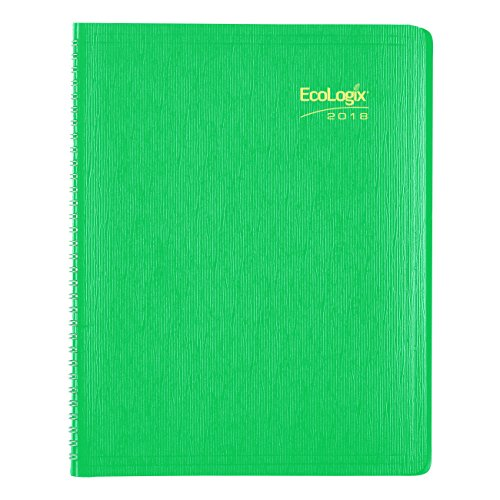 Brownline EcoLogix  2018 Weekly Appointment Book, Twin-Wire, green, 11 x 8.5 inches (CB425W.GRN-18) Rediform Ecologix Weekly Planner