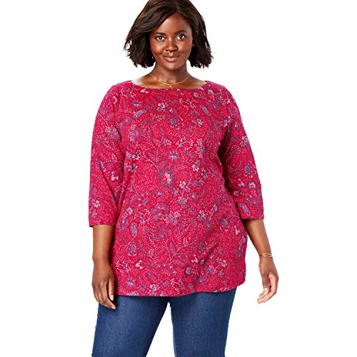 - Woman Within Women's Plus Size Perfect Boatneck Tee - Classic Red Stitch Floral, 38/40