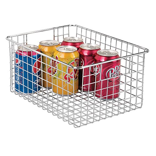 mDesign Farmhouse Decor Metal Wire Food Storage Organizer Bin Basket with Handles - for Kitchen Cabinets, Pantry, Bathroom, Laundry Room, Closets, Garage - 12 x 9 x 6 - Chrome