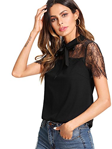 - WDIRA Women's Summer Floral Bow Tie Lace Yoke Regular Fit Casual Top Blouse Black L