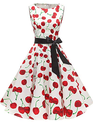 Gardenwed Women's Audrey Hepburn Rockabilly Vintage Dress 1950s Retro Cocktail Swing Party Dress White Cherry M ()
