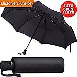 #4: Travel Umbrella - Сompact Folding Umbrella - Best Windproof Lightweight Portable Foldable Umbrella - Auto Open Сlose Automatic Сollapsible Umbrella Black