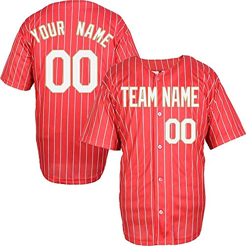 Pinstriped Custom Baseball Jersey for Men Women Youth Full Button Embroidered Your Name & Numbers S-8XL - Make Your Design