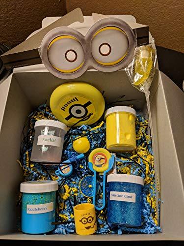 Minion Birthday Slime Box - 4oz (Set of 4) - Butter, Glitter, Charm, Slushie, Floam, Scented -