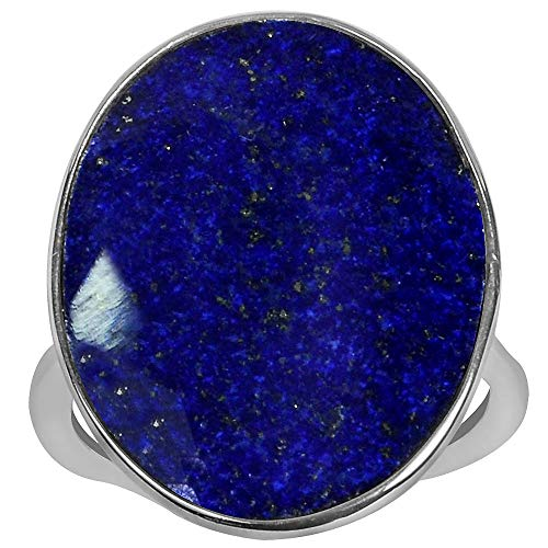 9.50 Ctw Blue Lapis Lazuli Anniversary Rings By Orchid Jewelry: Womens Gemstone Engagement & Promise Ring For Her, September Birthstone Jewelry, Sterling Silver Fashion Rings Size 6