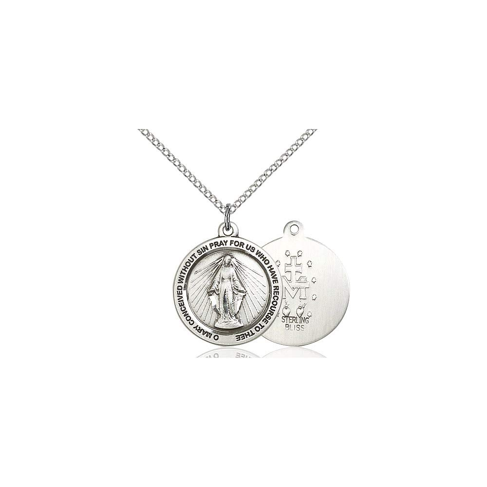DiamondJewelryNY Sterling Silver Miraculous Medal
