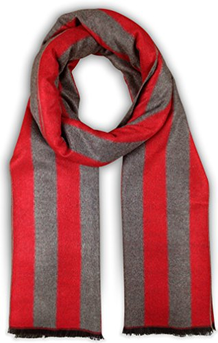 Bleu Nero Luxurious Winter Scarf for Men and Women – Large Selection of Unique Design Scarves – Super Soft Premium Cashmere Feel (Red/Grey Thick Vertical Stripes) (Stripe Scarf Mens)
