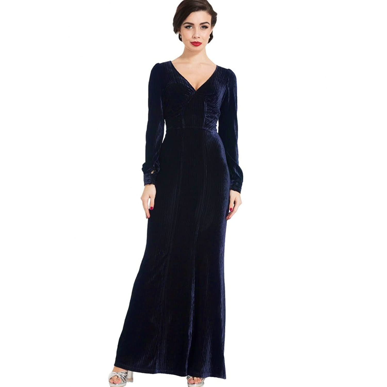 1950s Prom Dresses & Party Dresses Voodoo Vixen Nacki Velvet Gown Navy $85.95 AT vintagedancer.com