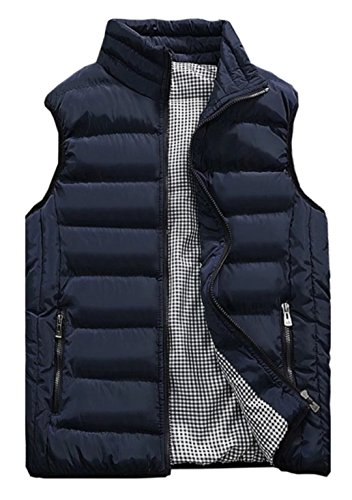 - HOW'ON Mens Classic Quilted Down Puffer Vest Blue S
