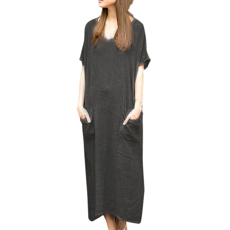 e219fecf15 【Material】Cotton And Linen- Women Loose Cotton Linen Short Sleeve Waistband  Long Maxi Dress Kaftan Baggy long dress short sleeve long dress short  sleeve ...