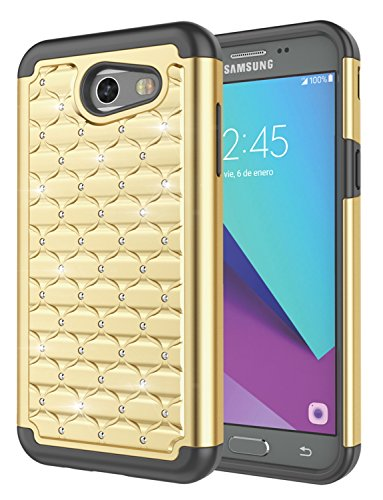 Galaxy J3 2017 Case,J3 Prime,J3 Emerge/Galaxy Sol 2/J3 Eclipse/J3 Mission Case, Jeylly [Diamond Star] Hybrid Rubber Plastic Shock Absorbing Studded Rhinestone Crystal Bling Rugged Case Cover - -