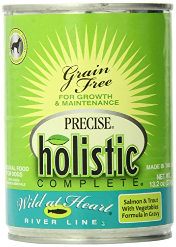 Precise 726507 12-Pack Holistic Complete Grain Free Salmon/Trout Food for Pets, 13.2-Ounce