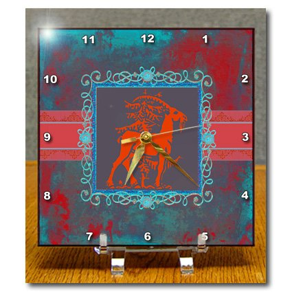 Beverly Turner Chinese New Year Design - Majestic Goat Next to Tree, Pewter Look Frame, Red, Aqua, Blue, Green - Desk Clocks - 6x6 Desk Clock - dc_186412_1