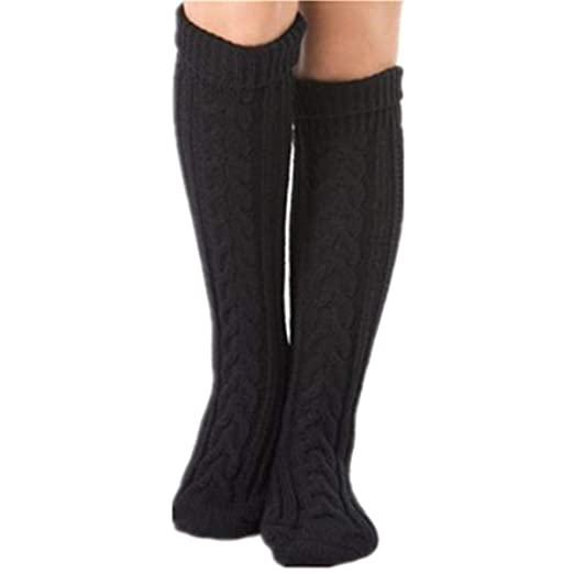 5b065cce8c3ed Women's Cable Knit Over the Knee Thigh High Stockings Long Boot Socks Leg  Warmer (Black