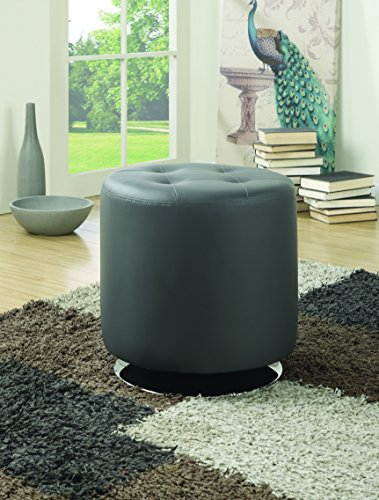 Coaster Home Furnishings Round Upholstered Ottoman Grey