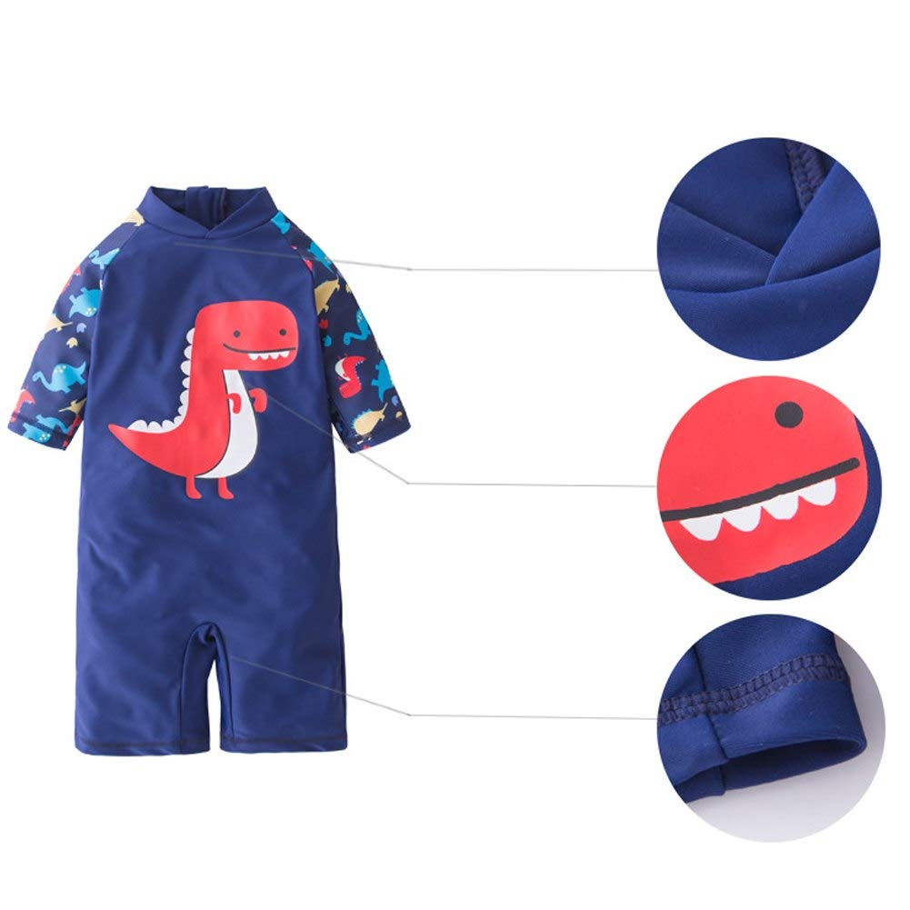 AMIYAN Kids Baby Boys One Piece Swimsuit Bathing Suits Toddlers Adorable Dinosaur Beachwear with Swim Cap UPF 50+