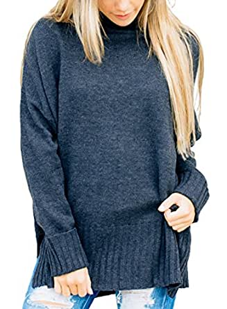 Dokotoo Womens Fashion Pullover Soft Winter Autumn Warm Cozy Loose Ladies Long Sleeve Casual Ribbed Crew Neck Sweater Pullover Top Small Blue