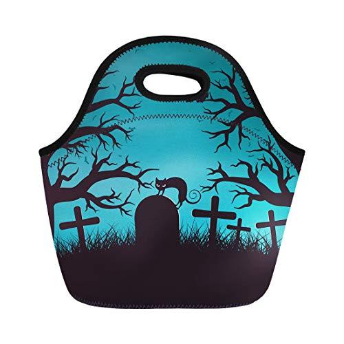 Semtomn Lunch Bags Black Cartoon Halloween Night in Wood on Old Graveyard Neoprene Lunch Bag Lunchbox Tote Bag Portable Picnic Bag Cooler Bag ()