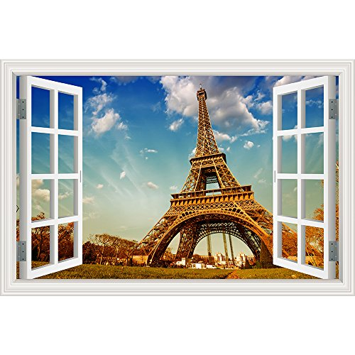 Tower Small Poster - GreatHomeArt Removable 3D Wall Decals Paris Eiffel Tower Window View Poster for Bedroom Wall Decor Murals Vinyl Sticker Peel and Stick- 24