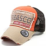 ililily Distressed Vintage Pre-curved Mesh Baseball Cap with Adjustable Strap Snapback Trucker Hat - 435-3,Beige,One Size