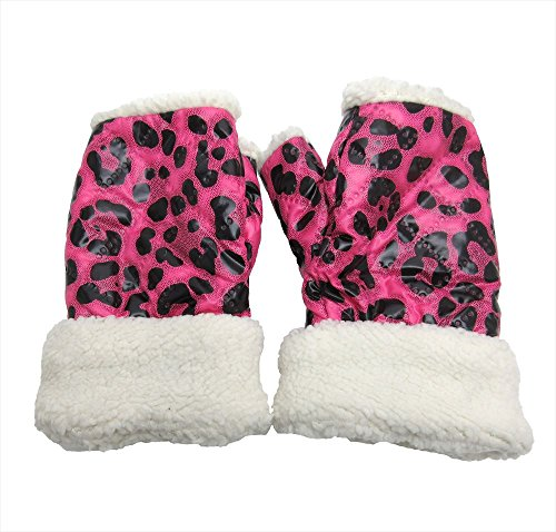 決済ピューうがい[パンダファミリー] 指なし手袋 ヒョウ柄 オープンフィンガーグローブ カラフル 派手 ピンク