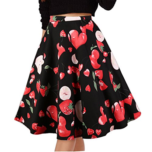 Musever Women's Pleated Vintage Skirts Floral Print Casual Midi Skirt Heart S