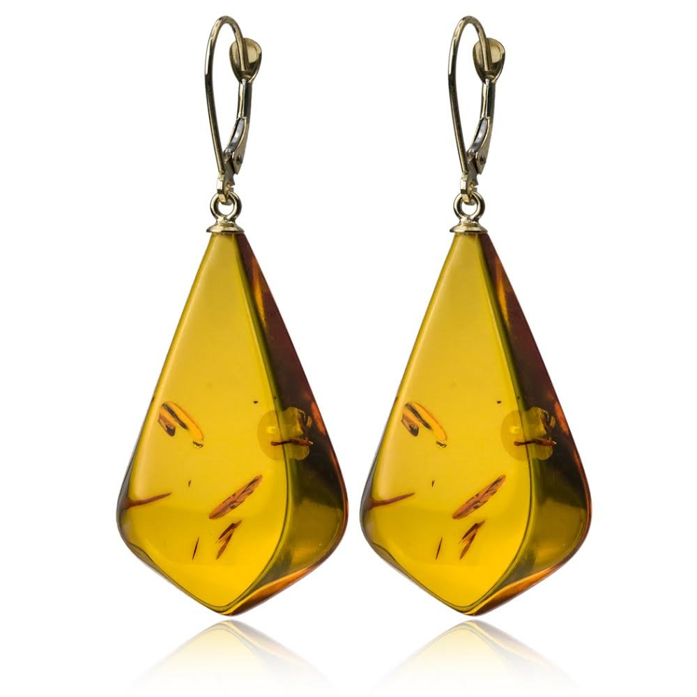 14K Gold Amber Drop Earrings