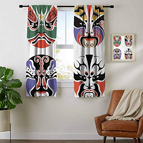 youpinnong Kabuki Mask, Country Curtains Valance, Traditional Chinese Cultural Opera Mask Set Collection Asian Tribal Art Theme, Curtains for Boys Room, W72 x L63 Inch Multicolor