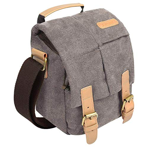 S-ZONE Vintage Waterproof Canvas Leather DSLR SLR Camera Shoulder Messenger Bag