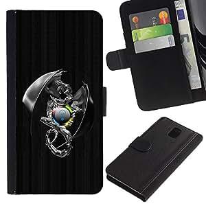 LASTONE PHONE CASE / Lujo Billetera de Cuero Caso del tirón Titular de la tarjeta Flip Carcasa Funda para Samsung Galaxy Note 3 III N9000 N9002 N9005 / Metal Sci Fi Dragon