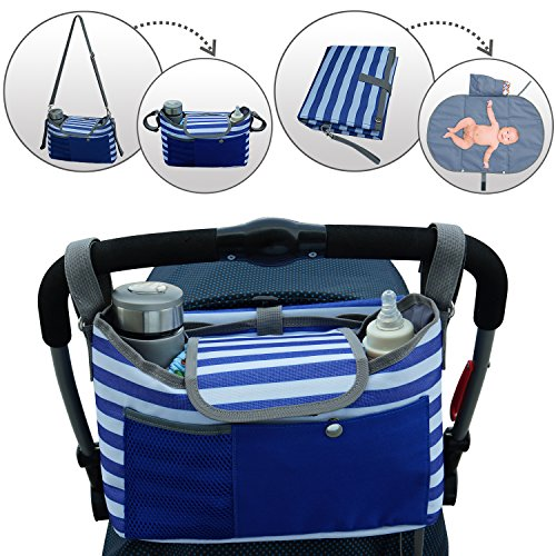Universal Baby Stroller Organizer with Cup Holder & Portable Changing Pad by BlueSnail (Blue)