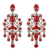 ruby crystal earrings - BriLove Women's Vintaged Style Bridal Crystal Drop Hollow Chandelier Filigree Dangle Earrings Antique Gold-tone Ruby Color