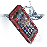 for iPhone 8 Plus & 7 Plus Waterproof Case Heavy Duty Full Body Rugged Armor Hard Silicone Protection Cover Metal Military Grade Bumper with Built-in Screen Protector Drop Proof Protective Commuter