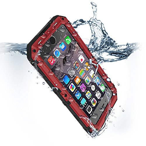 Compatible iPhone 6 Plus Waterproof Case with Built-in Screen Protector Heavy Duty Full Body Rugged Armor Hard Protection Cover Metal Military Grade Gear Bumper Dust Drop Proof Underwater Defender Red (Iphone 6 Vs 6s Vs 6s Plus Specs)